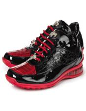 Mauri Italy Exotic Crocodile Sneakers Red