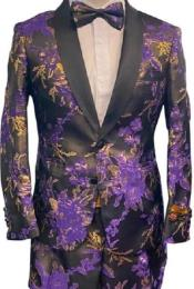 Mens Two Button Floral Prom Tuxedo