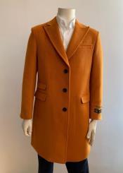 Mens Orange Overcoat - Three Quarter
