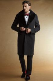 Fur Collars Mens Overcoat - Peacoat