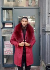 Fur Collars Mens Overcoat - Peacoat