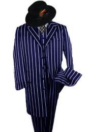 Gangster Suit - Navy Blue Pinstripe