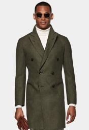Olive Green Peacoat - Three Quarter