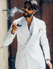 White Linen Suit - Double Breasted