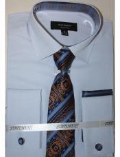 Mens Sky Dress Shirts with Tie