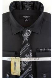 Mens Black Dress Shirts with Tie