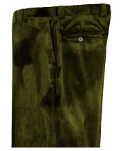 Mens Olive Green Velvet Pants Flat