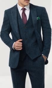 Mens Blue Windowpane Check Tweed Suit