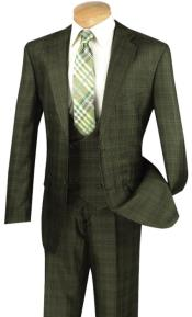 Mens3PieceSuitwithDouble-BreastedVestOliveSuit