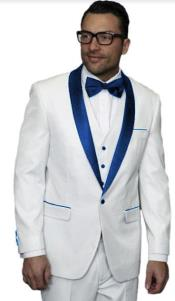 White and Royal Blue Lapel Tuxedo