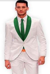 White and Hunter Green Lapel Tuxedo