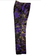 Fancy Pasiely Patterned Flat Front Pants