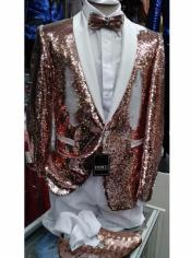 White and Rose Gold Tuxedo -