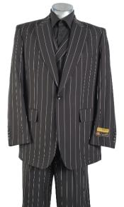 Black Pinstripe Suit - Double Breasted