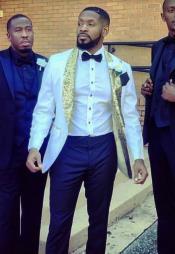 White and Gold Tuxedo Dinner Jacket