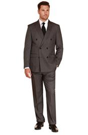 Mens Double Breasted Suit Charcoal Stripe