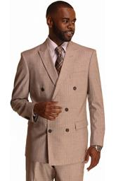 Mens Double Breasted Suit Tan Stripe