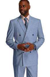 Mens Double Breasted Suit Blue Stripe