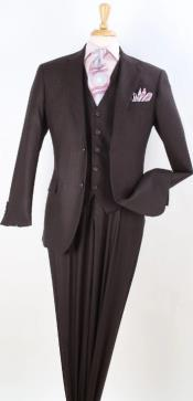 Brown Tone on Tone Vested -