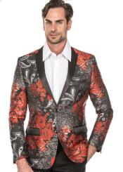 MensRedTuxedoSuit-FloralFancyPromSuitWith