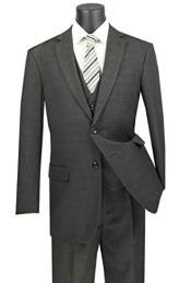 Plaid Vested Suit - Windowpane Suit