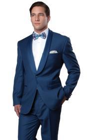 Blue Tuxedo With Blue Sateen Lapel