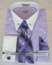 Mens Dress Shirt Point Collar Purple