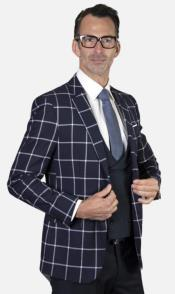 Mens 2-Button Single Breast Suit Navy
