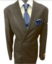 Mens Double Breasted Peak Lapel Charcoal