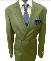 Mens Double Breasted Peak Lapel Olive