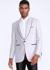 White and Purple Tuxedo With Trim