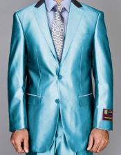 Mens Shiny Two Buttons Suits Flat