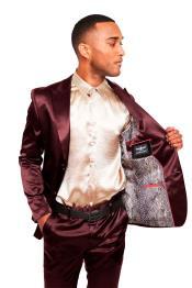 Mens Two Buttons Peak Lapel Suit