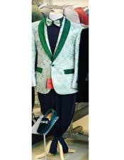 Mens One Button Shawl Lapel Green
