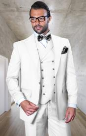 WhiteSuit-100%WoolClassicFitWithDoubleBreasted