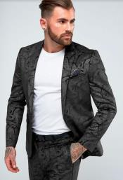 Mens Black Skinny Suit