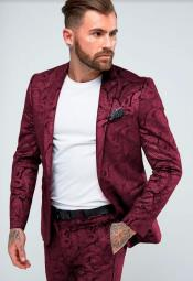Mens Burgundy Skinny Suit