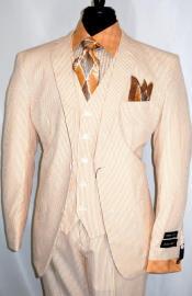 Suit - Orange Suit - Seersucker Suit - Vested