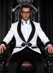 WhiteSuitWithBlackLapelWithBowtie+BlackPants