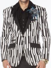 Mens Black and White Pinstripe Blazer
