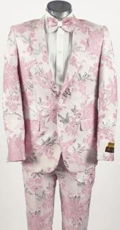 Mens Pink Suit - Paisley Fancy