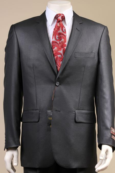 AC-682 Two Button Suit New Edition Shiny Sharkskin Liquid Jet Black