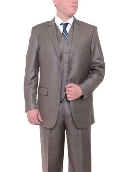 JSM-431 Men's 2 Button Taupe Brown Textured Classic Fit Side Vents Vested Suit