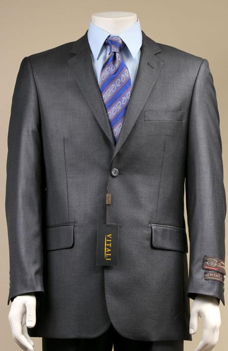 AC-680 Two Button Suit New Edition Shiny Sharkskin Dark Grey Masculine color Grey
