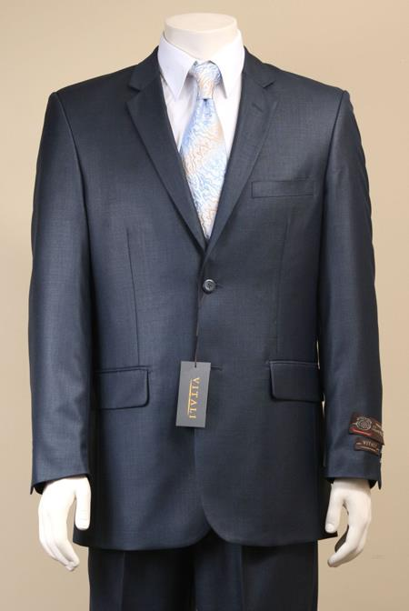 AC-684 Two Button Suit New Edition Shiny Sharkskin Navy Blue Shade