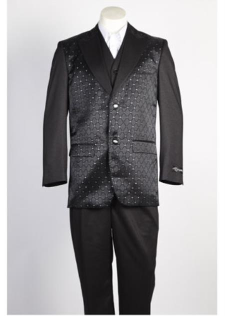 JSM-360 Men's 2 Button Shiny Single Breasted Black Suit