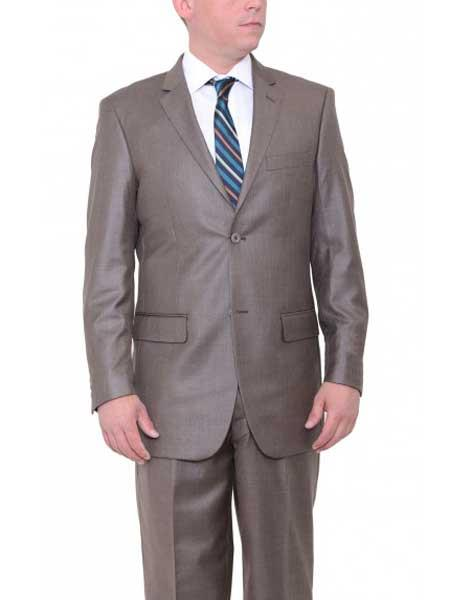 JSM-549 Men's 2 Button Taupe Brown Big & Tall Single Breasted Classic Fit Textured Suit