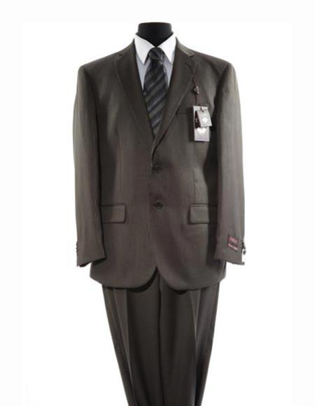 JSM-2654 Men's 2 Button Single Breasted Notch Lapel Pinstripe Pattern Taupe Suit