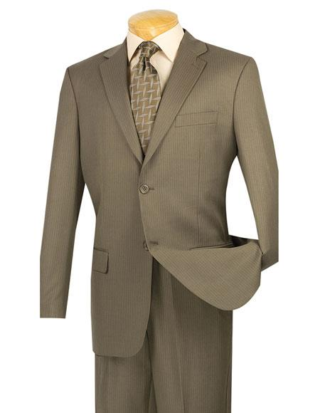 GD1513 Mens Mini Stripe ~ Pinstripe 2 button Taupe Wool Blend Suit