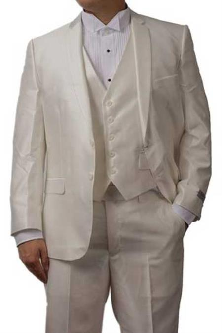 SM1293 3 Piece Notch Lapel Shiny Off White Sharkskin
